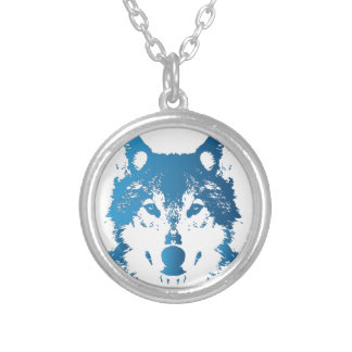 Illustration Ice Blue Wolf Silver Plated Necklace