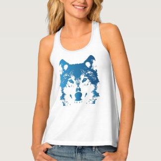 Illustration Ice Blue Wolf Singlet