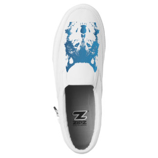 Illustration Ice Blue Wolf Slip-On Shoes