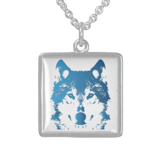 Illustration Ice Blue Wolf Sterling Silver Necklace