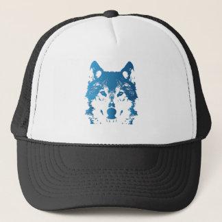 Illustration Ice Blue Wolf Trucker Hat