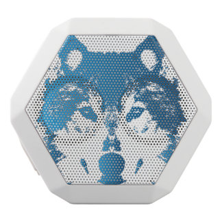 Illustration Ice Blue Wolf White Bluetooth Speaker