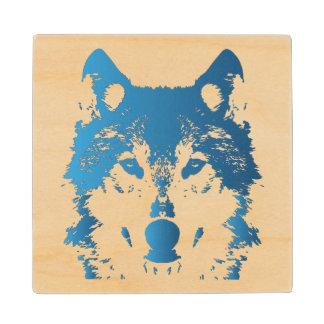 Illustration Ice Blue Wolf Wood Coaster