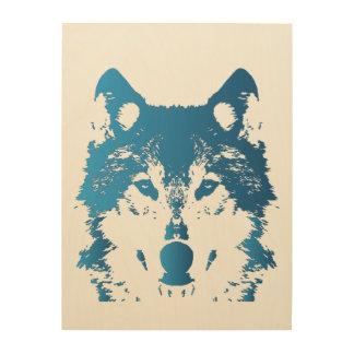 Illustration Ice Blue Wolf Wood Print
