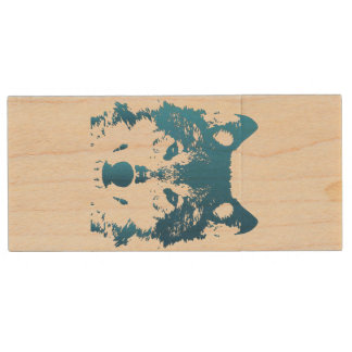 Illustration Ice Blue Wolf Wood USB Flash Drive