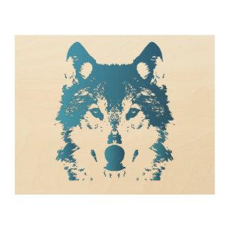 Illustration Ice Blue Wolf Wood Wall Art