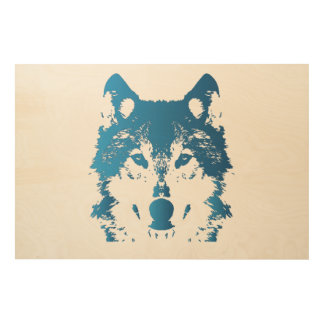 Illustration Ice Blue Wolf Wood Wall Decor