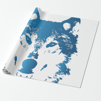 Illustration Ice Blue Wolf Wrapping Paper
