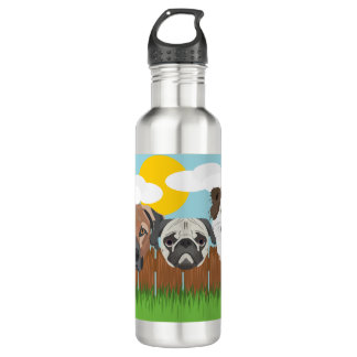 Illustration lucky dogs on a wooden fence 710 ml water bottle