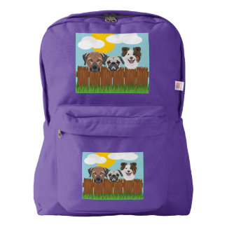 Illustration lucky dogs on a wooden fence backpack