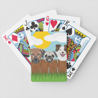 Illustration lucky dogs on a wooden fence bicycle playing cards