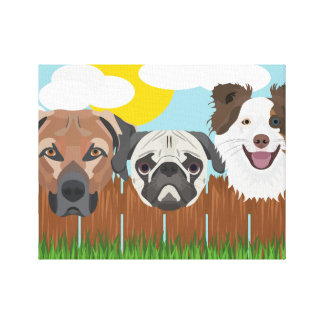 Illustration lucky dogs on a wooden fence canvas print