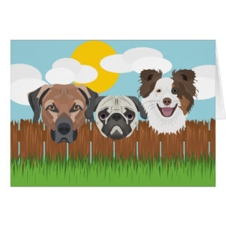 Illustration lucky dogs on a wooden fence card