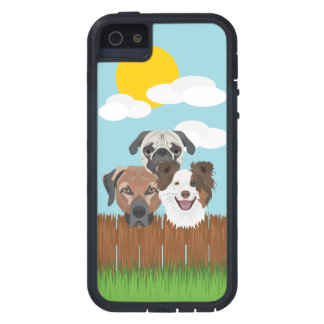 Illustration lucky dogs on a wooden fence case for iPhone 5