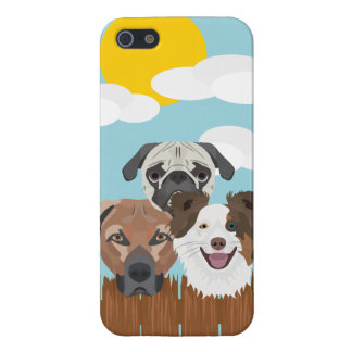 Illustration lucky dogs on a wooden fence case for iPhone 5/5S