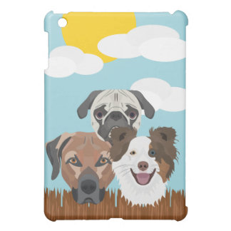 Illustration lucky dogs on a wooden fence case for the iPad mini
