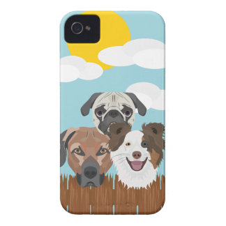 Illustration lucky dogs on a wooden fence Case-Mate iPhone 4 case