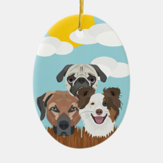 Illustration lucky dogs on a wooden fence ceramic ornament