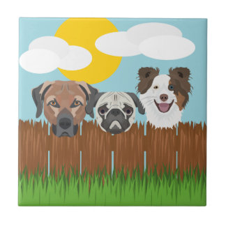 Illustration lucky dogs on a wooden fence ceramic tile
