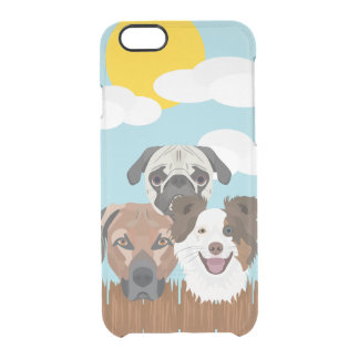 Illustration lucky dogs on a wooden fence clear iPhone 6/6S case