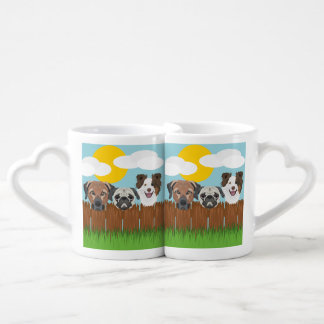 Illustration lucky dogs on a wooden fence coffee mug set