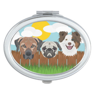 Illustration lucky dogs on a wooden fence compact mirror