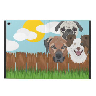Illustration lucky dogs on a wooden fence cover for iPad air