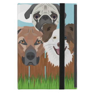 Illustration lucky dogs on a wooden fence cover for iPad mini