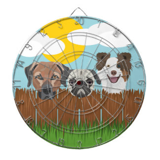 Illustration lucky dogs on a wooden fence dartboard