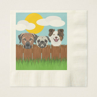 Illustration lucky dogs on a wooden fence disposable napkin