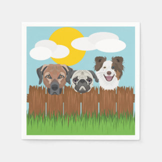 Illustration lucky dogs on a wooden fence disposable serviette
