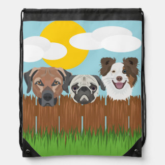 Illustration lucky dogs on a wooden fence drawstring bag