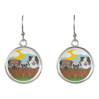 Illustration lucky dogs on a wooden fence earrings