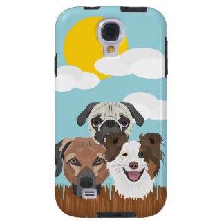 Illustration lucky dogs on a wooden fence galaxy s4 case