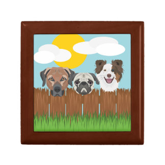 Illustration lucky dogs on a wooden fence gift box