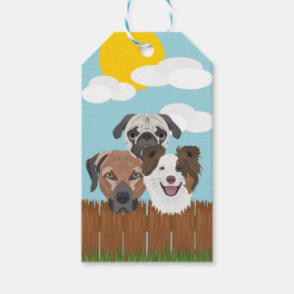Illustration lucky dogs on a wooden fence gift tags