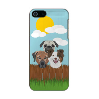 Illustration lucky dogs on a wooden fence incipio feather® shine iPhone 5 case