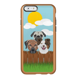 Illustration lucky dogs on a wooden fence incipio feather® shine iPhone 6 case