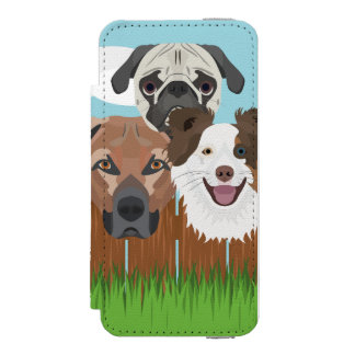 Illustration lucky dogs on a wooden fence incipio watson™ iPhone 5 wallet case