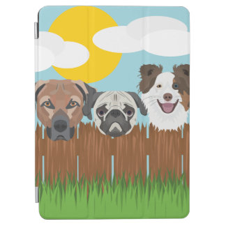 Illustration lucky dogs on a wooden fence iPad air cover