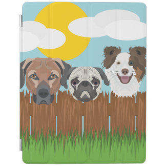 Illustration lucky dogs on a wooden fence iPad cover
