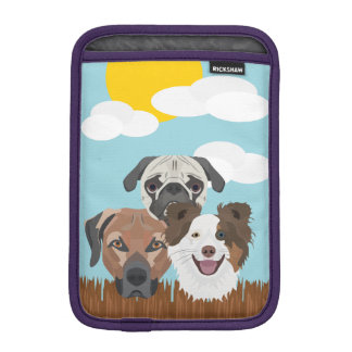 Illustration lucky dogs on a wooden fence iPad mini sleeve