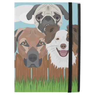 """Illustration lucky dogs on a wooden fence iPad pro 12.9"""" case"""