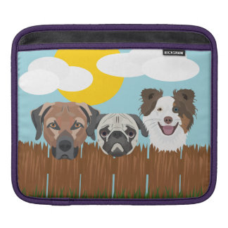 Illustration lucky dogs on a wooden fence iPad sleeve
