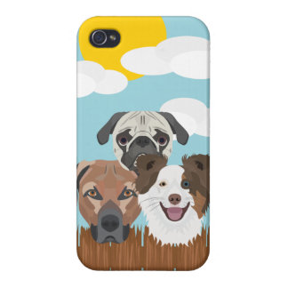 Illustration lucky dogs on a wooden fence iPhone 4/4S case