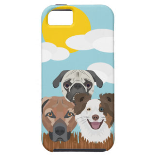 Illustration lucky dogs on a wooden fence iPhone 5 cover