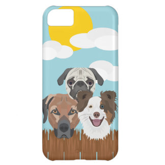 Illustration lucky dogs on a wooden fence iPhone 5C case