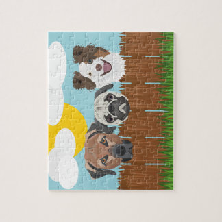 Illustration lucky dogs on a wooden fence jigsaw puzzle