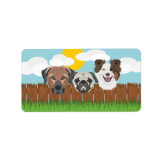 Illustration lucky dogs on a wooden fence label