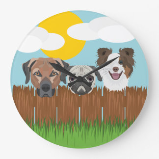 Illustration lucky dogs on a wooden fence large clock